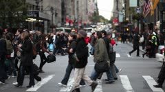 Crowd crossing street new york city NY NYC pedestrian people Stock Footage