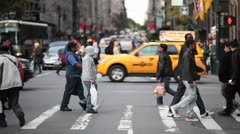 Crowd crossing street new york city NY NYC pedestrian people - stock footage