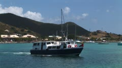 WorldClips-Marigot Harbor Boats-pan Stock Footage