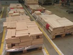 Parquet made ​​of dark and light wood. Industrial factory. Stock Footage