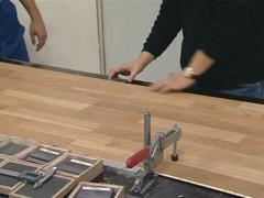 Quality control of finished parquet. Human intervention. Stock Footage