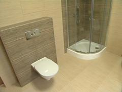 Bathroom in a modern new apartment. WC, shower and bath. Stock Footage