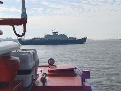 Small ferry Baltija flies in front of another vessel. Stock Footage