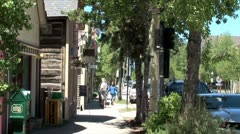 WorldClips-Breckenridge Sidewalk Peple-zoom Stock Footage