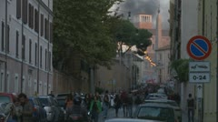 Riot in Rome (smoke in the sky, alarm sound) Stock Footage