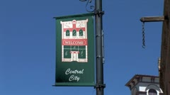 WorldClips-Central City Street Banner-zooms Stock Footage