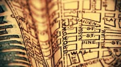 Exclusive New York Map from 1903 03 focusing on Broadway stylized Stock Footage