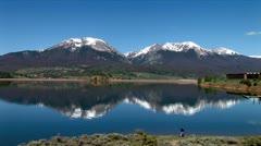 WorldClips-Dillon Lake-Twin Snowy Peaks-xws - stock footage