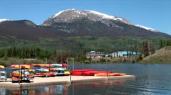 WorldClips-Frisco Marina Canoes Pier-zooms Stock Footage