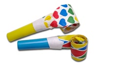 Noisemakers - party blowers Stock Footage
