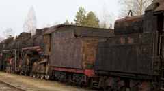 Cemetery of steam trains. Time lapse Stock Footage