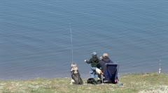 WorldClips-Lake Fisherman and son Stock Footage