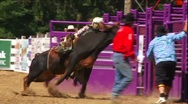 Rodeo Bull Riding Tragedy Slow Motion Stock Footage