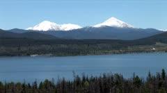 WorldClips-Twin Snowy Peaks-Dillon Lake-xws-zoom - stock footage