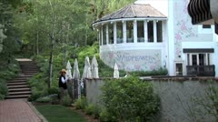 WorldClips-Vail Garden Retaurant-zooms Stock Footage