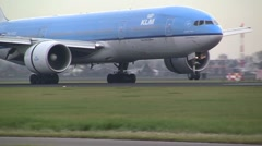 Huge KLM Boeing 777 Landing - stock footage