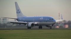 KLM plane lands at Schiphol - stock footage