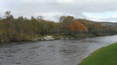 Suspension bridge over River Tummel Pitlochry Scotland Stock Footage