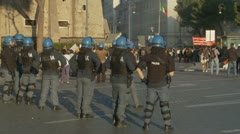 Italian riot police prepare for trouble Stock Footage
