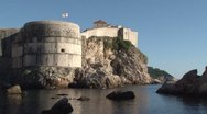 Castle and Walls of Old Dubrovnik Stock Footage