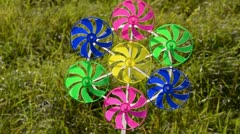 0152 windmill colorful toy and summer wind Stock Footage