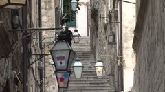 Alleyway in Old Dubrovnik Stock Footage