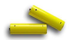 Yellow batteries closeup Stock Footage