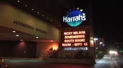 WorldClips-Harrahs People Arrive-Night-ws Stock Footage