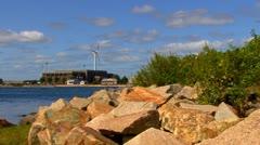 Cape Cod Canal; wind turbine 5 - stock footage