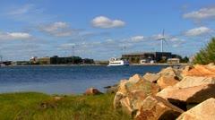 Cape Cod Canal; wind turbine 8 Stock Footage