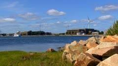 Cape Cod Canal; wind turbine 9 - stock footage