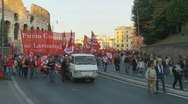 Stock Video Footage of Demo (4) around the Collosseum in Rome
