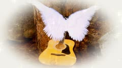 Acoustic Guitar with Heavenly Angel Wings and Lights Stock Footage