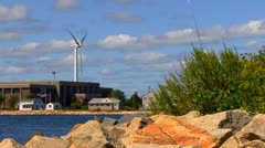 Cape Cod Canal; wind turbine 6 Stock Footage