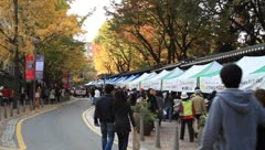 Crowd of people walking around Deoksugung palace in Fall Stock Footage