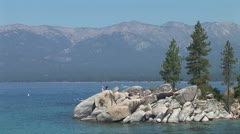WorldClips-Sand Harbor Rocks Stock Footage