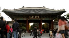 Tourists in front of the entrance of Deoksugung Palace in Seoul Stock Footage