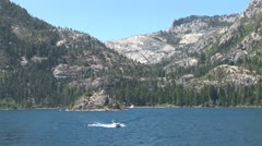 WorldClips-Speedboat Leaves Emerald Bay Stock Footage