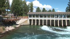 WorldClips-Tahoe City Dam-ws-pan Stock Footage