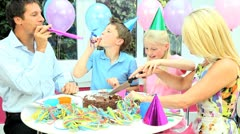 Attractive Caucasian Family Cutting Birthday Cake - stock footage
