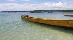 Traditional boats at a bay at Havelock island Stock Footage