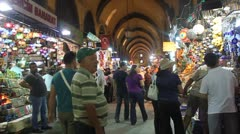 People shop at Spice Bazaar in Istanbul - stock footage