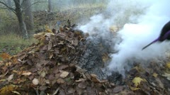 Burning a pile of autumn leafs - stock footage