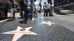 Hollywood Walk of Fame, Los Angeles, California, USA Stock Footage