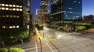 Stock Video Footage of Illuminated Figueroa at Wiltshire, Los Angeles, USA, T/lapse