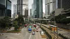 Traffic in Queensway Central, Hong Kong, China, T/lapse  Stock Footage