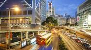 Stock Video Footage of Illuminated Queensway in Hong Kong, China, T/lapse