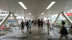 Elevated walkway in Central, Hong Kong, China, T/lapse Stock Footage