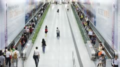 People on a moving walkway, Hong Kong, China, T/lapse Stock Footage