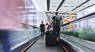 Stock Video Footage of Commuters on a moving walkway, Hong Kong, China, T/lapse